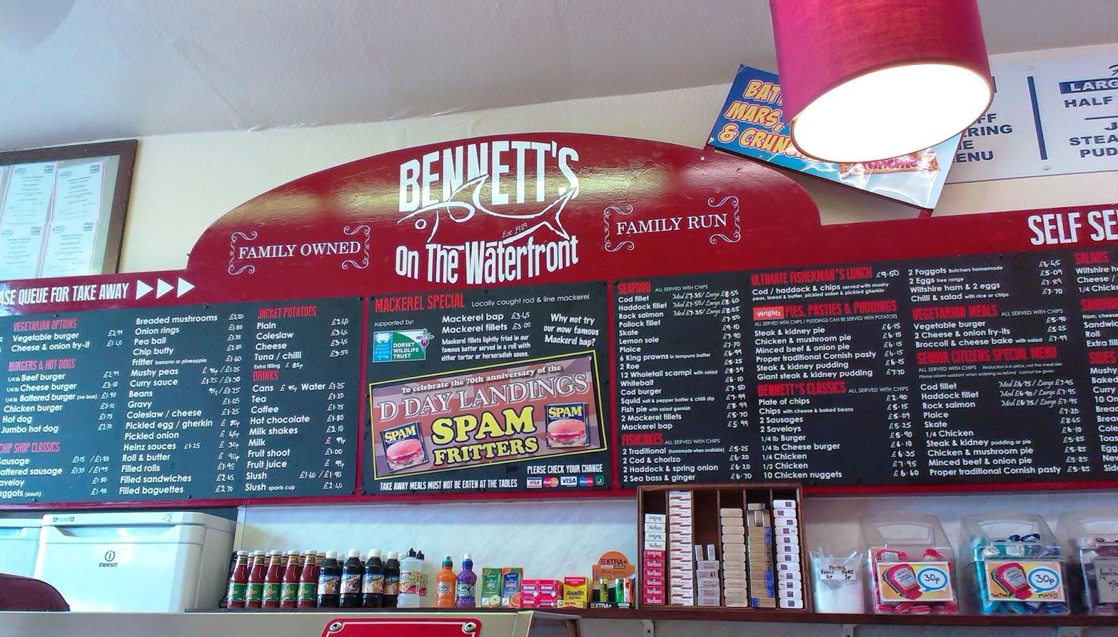 Weymouth Bennett's on the Waterfront Menu