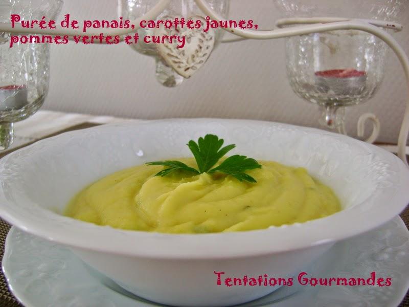tentations gourmandes pur e de panais carottes jaunes pommes vertes et curry. Black Bedroom Furniture Sets. Home Design Ideas
