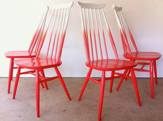 cadeira com pintura ombré