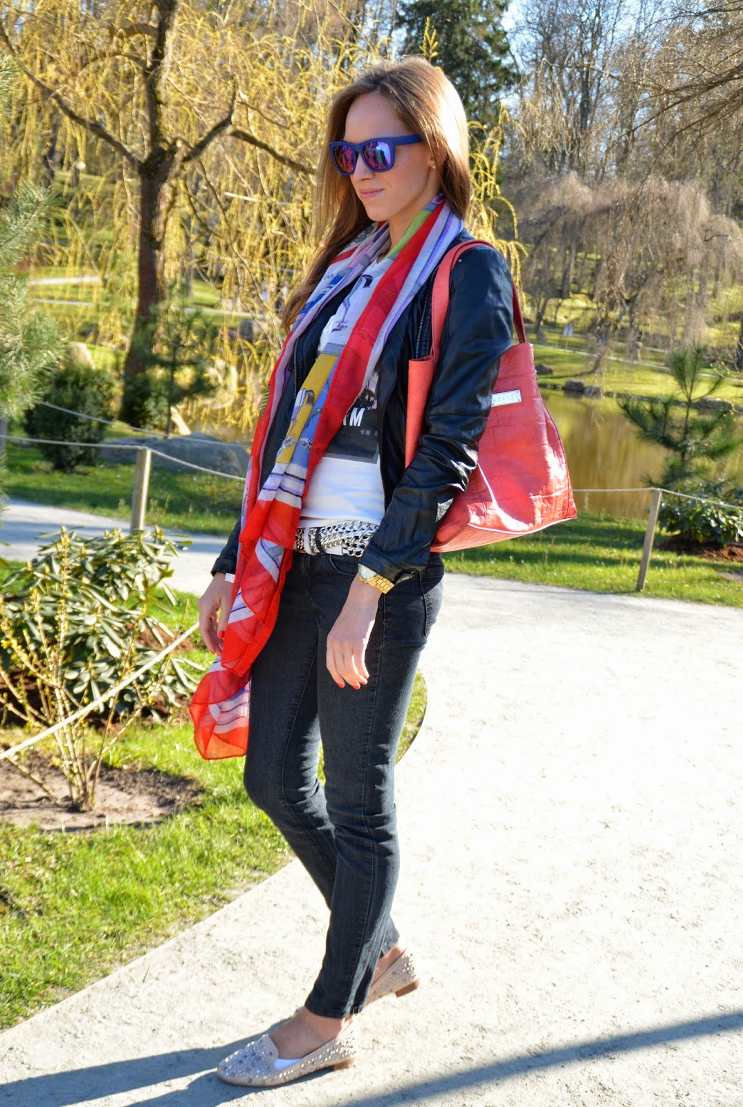 red-print-scarf-orange-mohito-bag