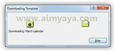 Gambar: Proses download template March calendar