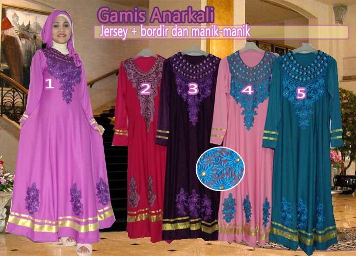 Baju gamis anarkali set jilbab gaya trend 2015 Baju gamis versi 2015