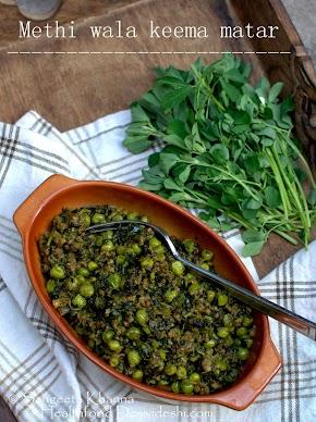 keema matar recipe with fresh methi (fenugreek) greens