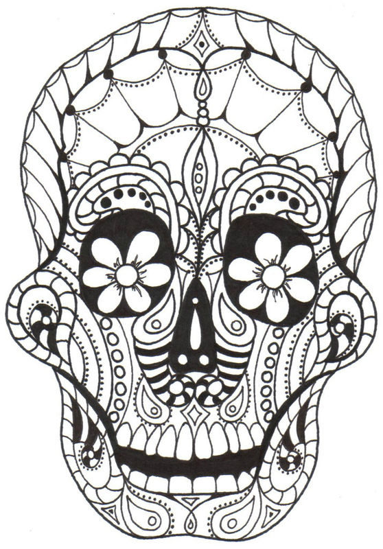 DAY OF THE DEAD, SUGAR SKULLS, free download  - day of the dead coloring pages