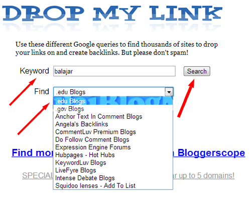 footprint menggunakan website toolsdropmylink