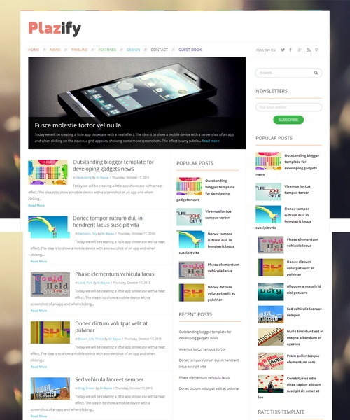 Plazify Free Responsive Blogger Template Download 2016 [Mastemplate.com]