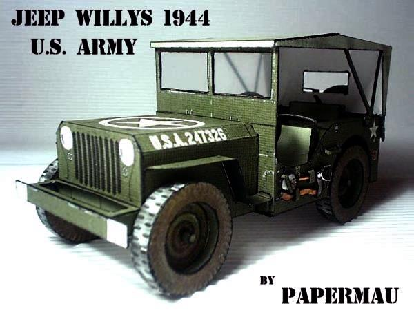 papermau jeep willys 1944 paper model u s army version. Black Bedroom Furniture Sets. Home Design Ideas