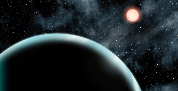 "This artist's conception shows the Uranus-sized exoplanet Kepler-421b, which orbits an orange, type K star about 1,000 light-years from Earth. Kepler-421b is the transiting exoplanet with the longest known year, circling its star once every 704 days. It is located beyond the ""snow line"" – the dividing line between rocky and gaseous planets – and might have formed in place rather than migrating from a different orbit. Credit: David A. Aguilar (CfA)"