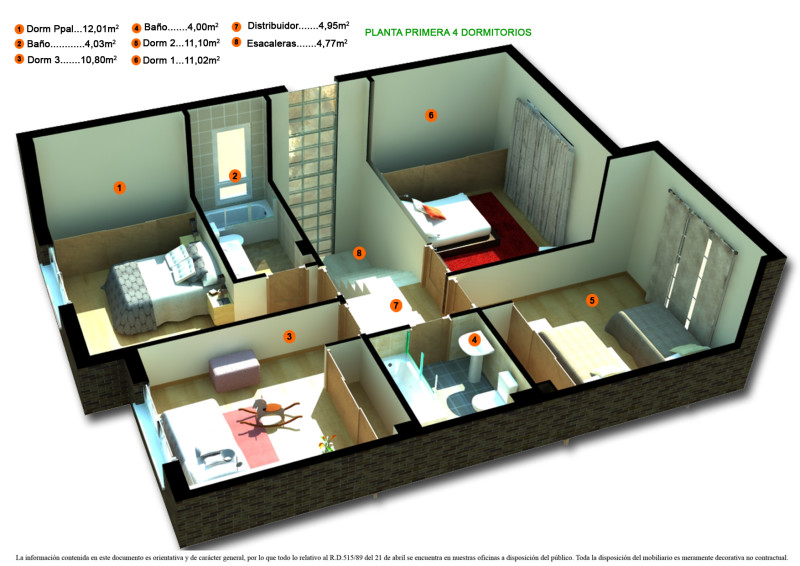 denah rumah minimalis 1 lantai 2 kamar tidur asyik