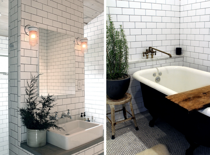 Peonies brass tile files is dark grout here to stay - White subway tile with black grout bathroom ...
