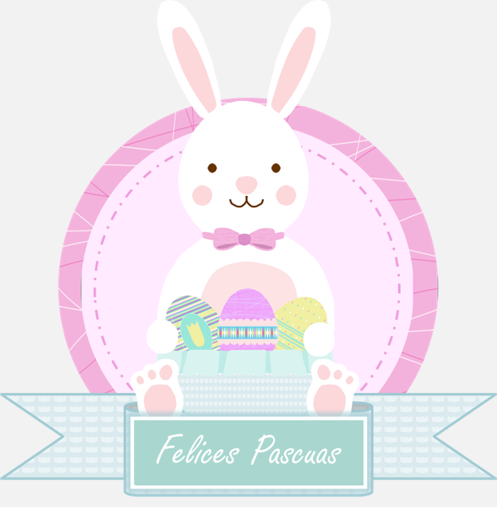 "conejo de Pascua con cartel ""felices Pascuas"""