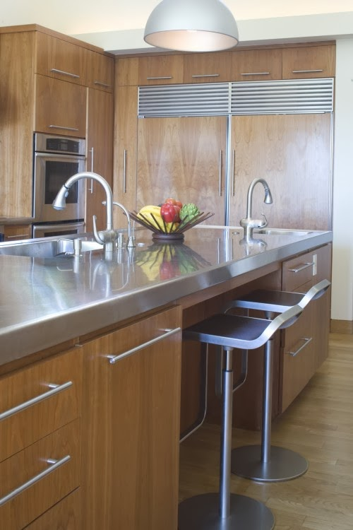 Kitchen countertop materials ideas and options for Stainless steel bathroom countertops