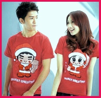 Baju: Kaos Couple Merry Christmas Merah