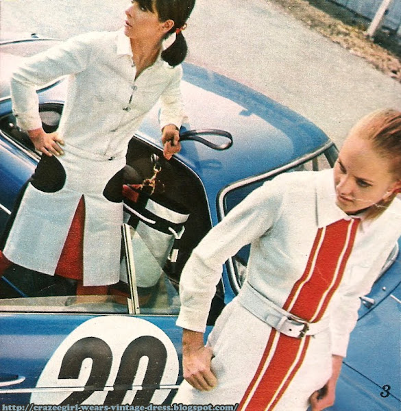 1966 skirt stripe race car 60s 1960 jacket Jupe et chemisier en jersey blanc . CACHAREL  Second plan : Ensemble blouson à épaules surpiquées et fermeture clip, en flanelle blanche .CACHAREL race