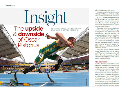 Published in February 21 FINWEEK: The upside and downside of Oscar Pistorius