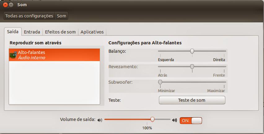 Controlador de som Ubuntu