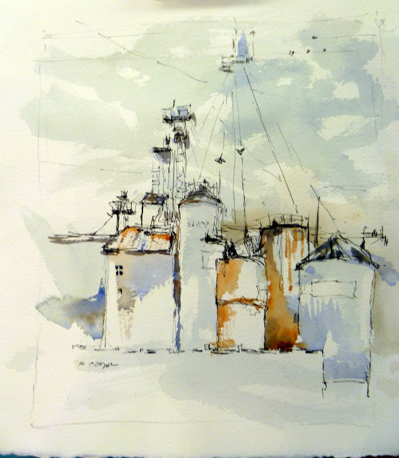 Line Drawing With Watercolor : Michele s nw studio line and wash sold