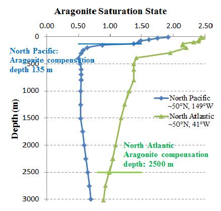 pacific ocean depth  is called aragonite compensation