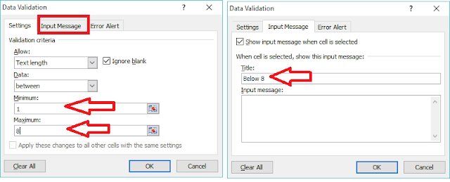 How to Add Error Message in MS Excel Min Max Numbers & Text Length,make error message in ms excel,how to add error message,minimum and maximum character length,minimum and maximum numbers length,data validation in excel,excel 2007,2003,2010,excel 2016,excel 2013,how to know mistakes in excel,Input Message,how to add Error Alert,wrong alert message,excell error,character length,Microsoft Excel (Software)