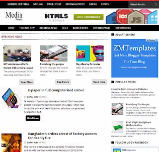 Media News Blogger Template