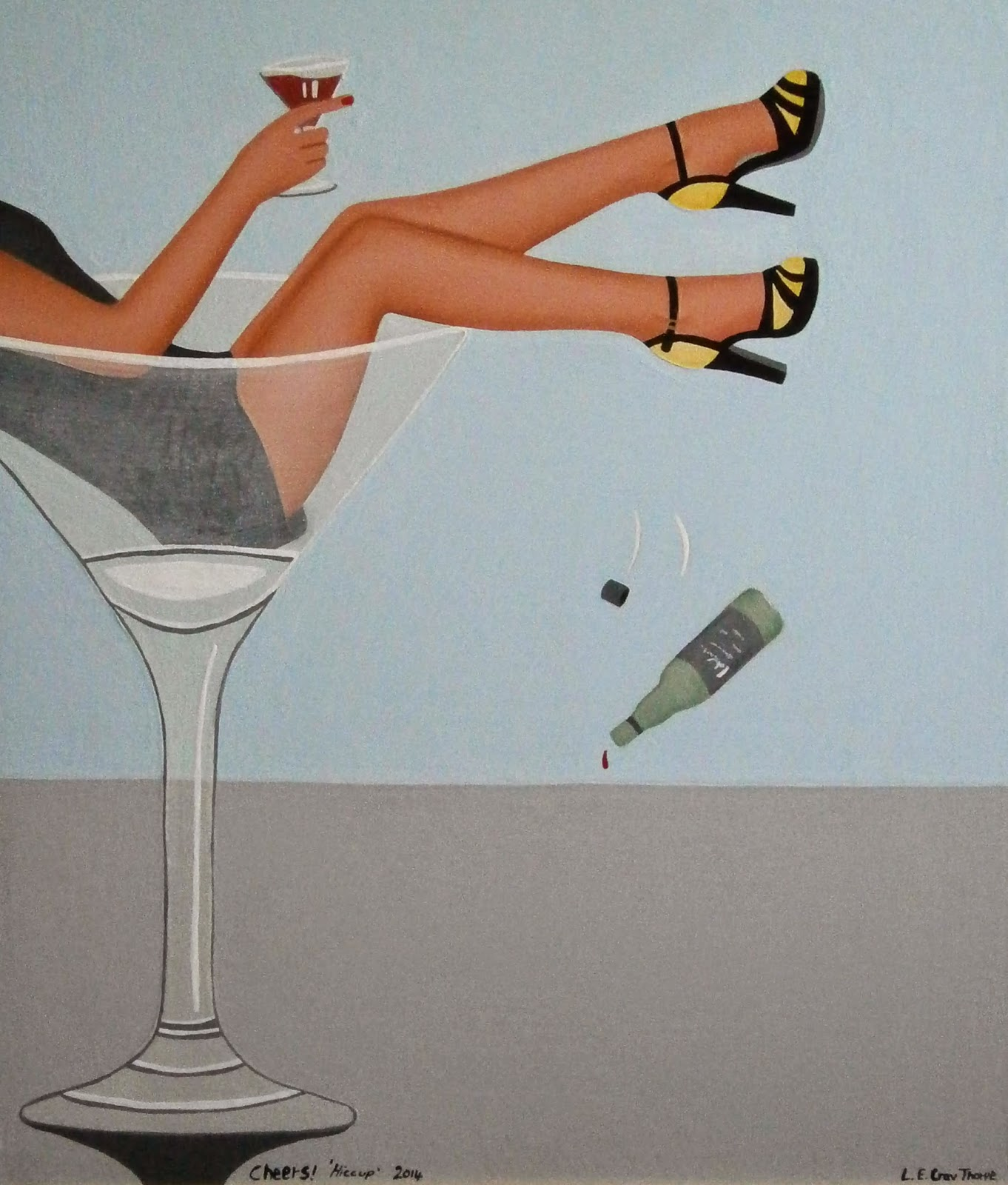 A woman laying in a Martini glass whilst drinking wine