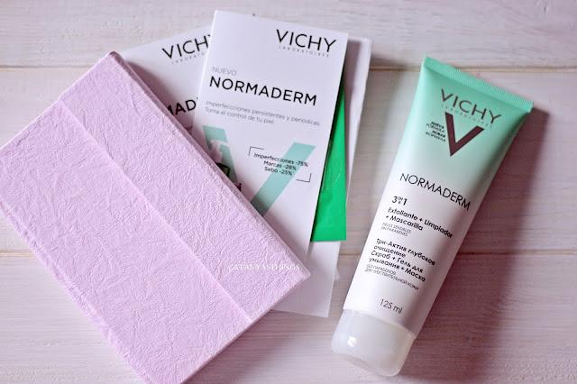 NORMADERM - 3 en 1 mascarilla, limpiador, exfoliante, reseña, anti-imperfecciones, vichy, opiniones, precio