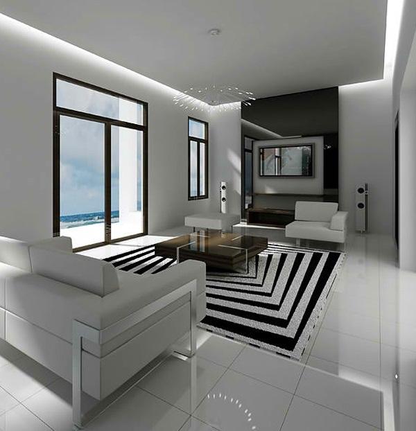 penggunaan warna hitam dan putih living room black and white