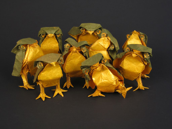 polluelos hechos de origami