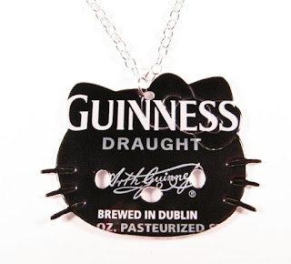 Hello Kitty Happy St Patrick's Day Guinness Draught can necklace