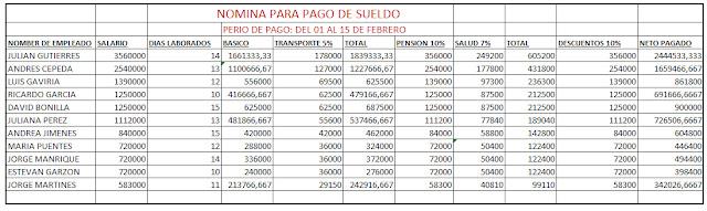 Nomina Para Pago De Empleados Trabajo Excel