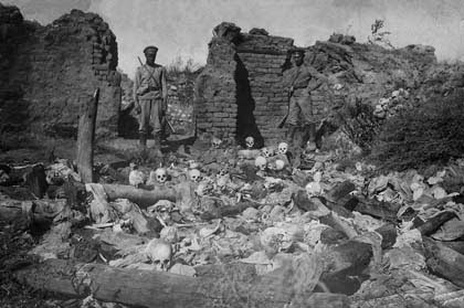 The Recognition of the genocides as the beginning of justice against the crimes against humanity and barbarity - Armenians burnt alive in Sheykhalan by Turkish soldiers, 1915