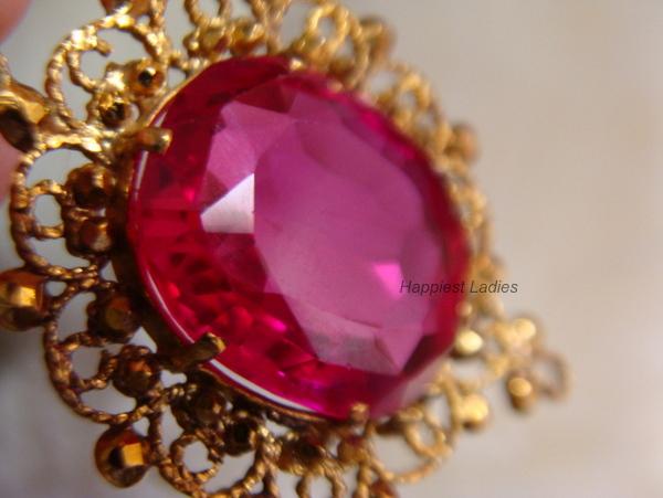 Semi precious stone gold pendant+crystal jewelry