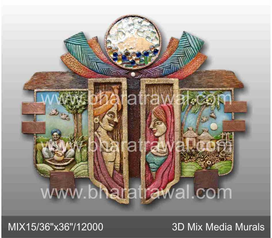 Mural art by muralguru bharat rawal students works at for 3d ceramic mural art