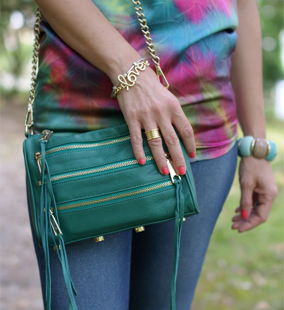 Rebecca Minkoff mini zipper bag, green mini zipper, Love bracelet, BVLGARI BZero ring, Fashion and Cookies