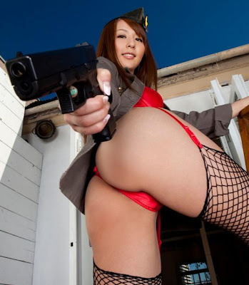 Asian girl with a gun