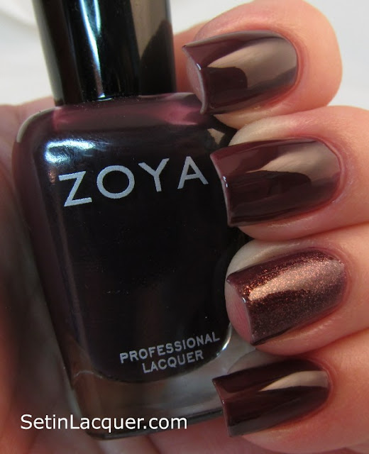 "Zoya Katherine with a ""jelly sandwich"" of Daul accent nail - Artificial light"