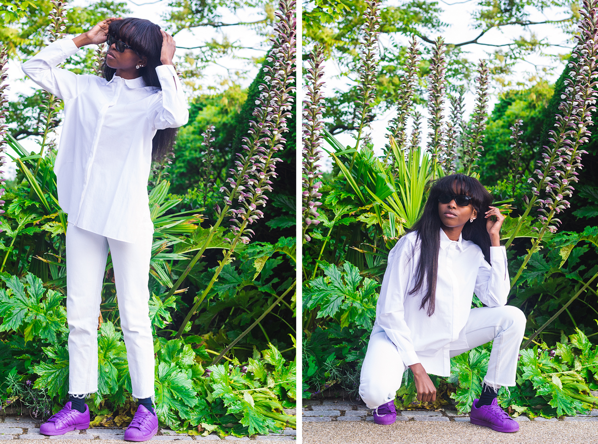 style blogger, self portraits, ray purple adidas supercolors