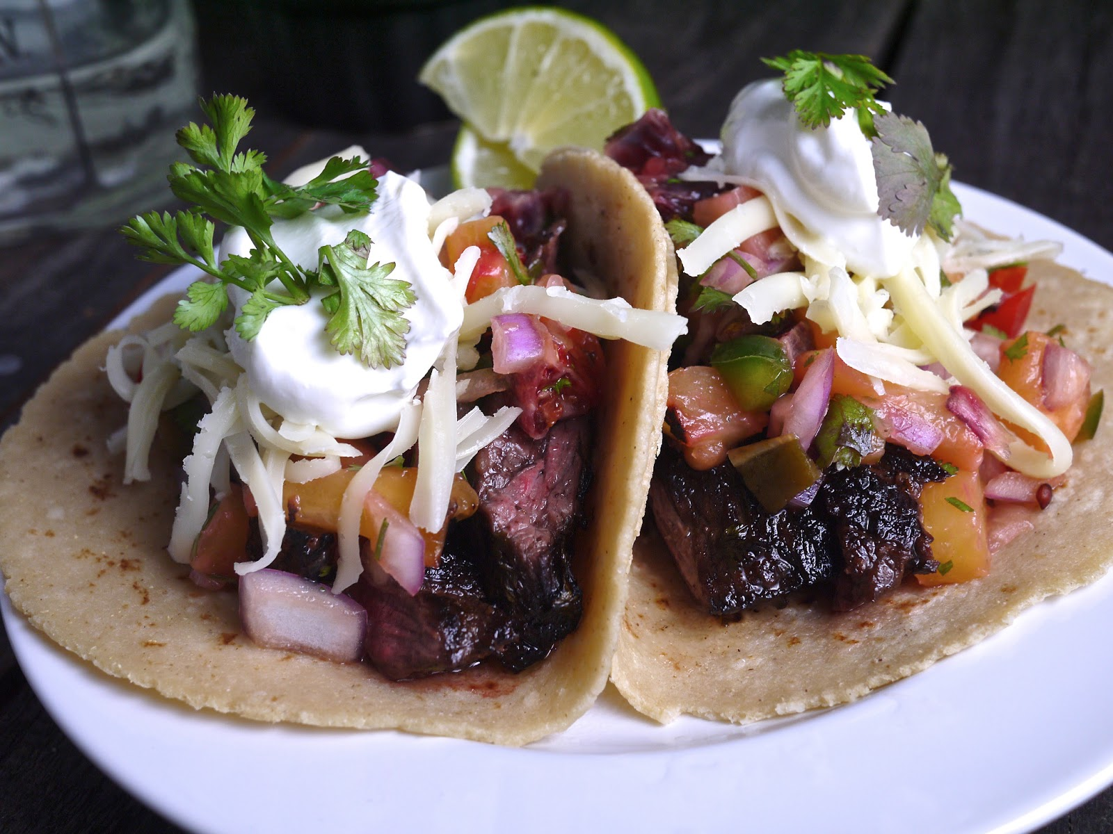 ... and Tequila Marinated Skirt Steak Tacos with Roasted Pineapple Salsa