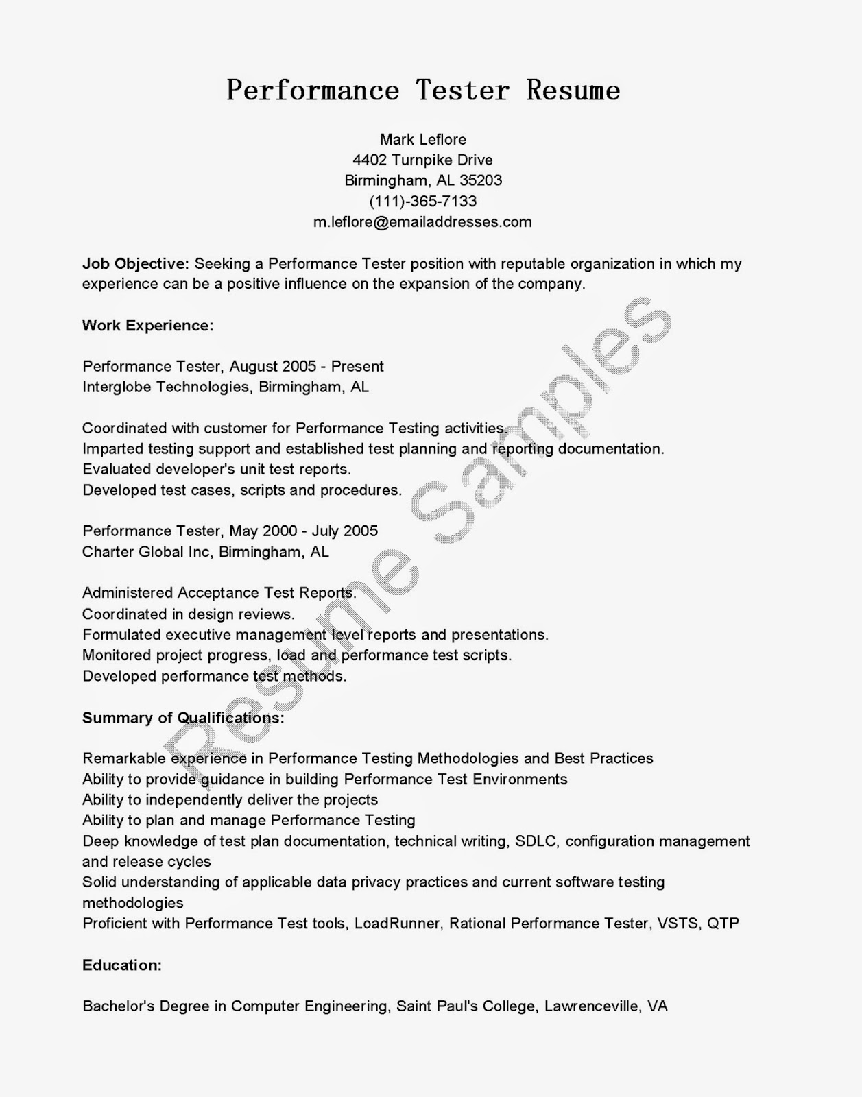 resume sles performance tester resume sle