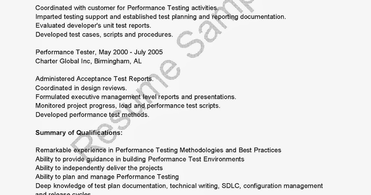 performance testing resume