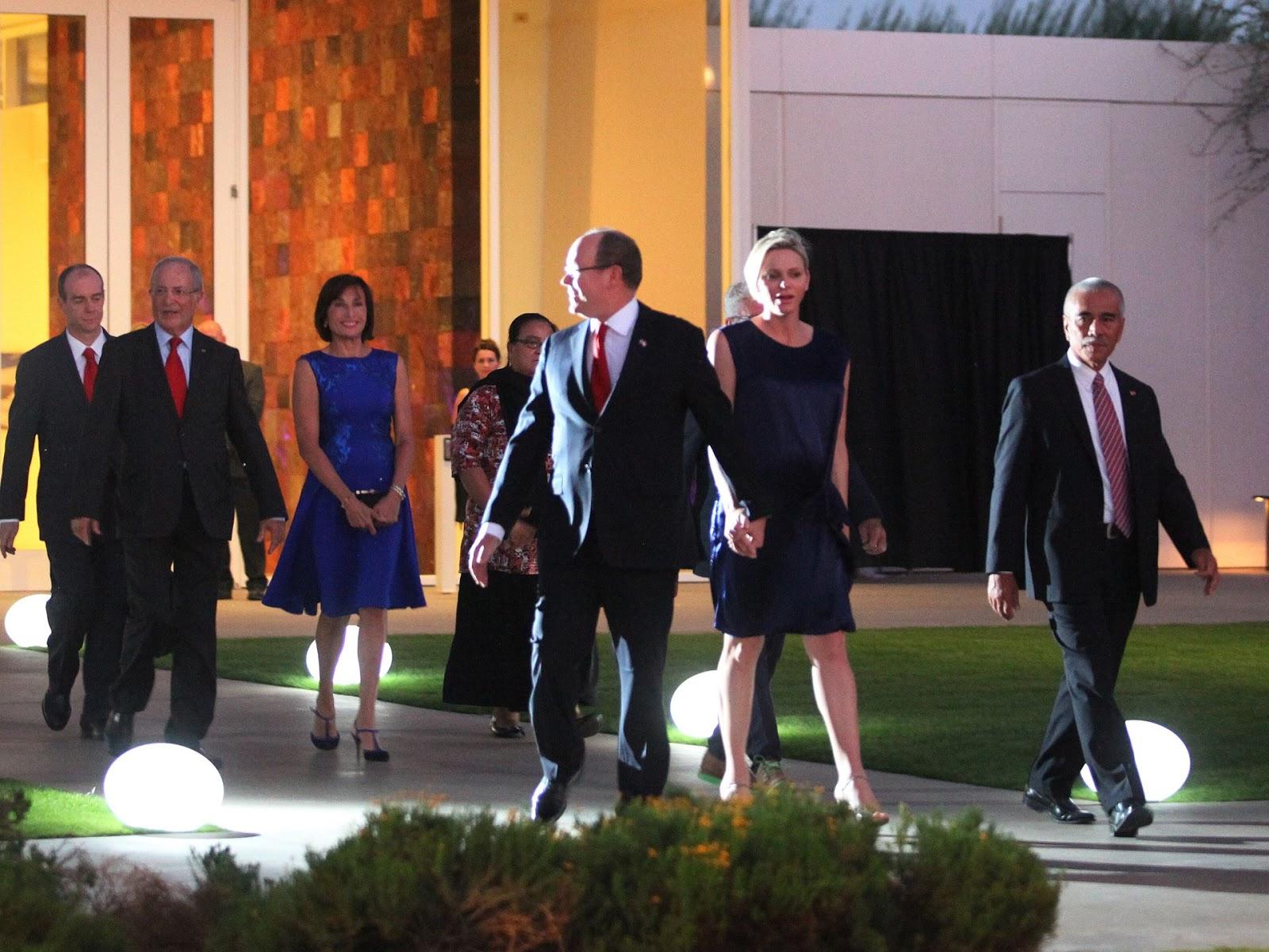Prince Albert II of Monaco and Princess Charlene with Kiribati President Anote Tong arrive to the Prince Albert II of Monaco Foundation Awards