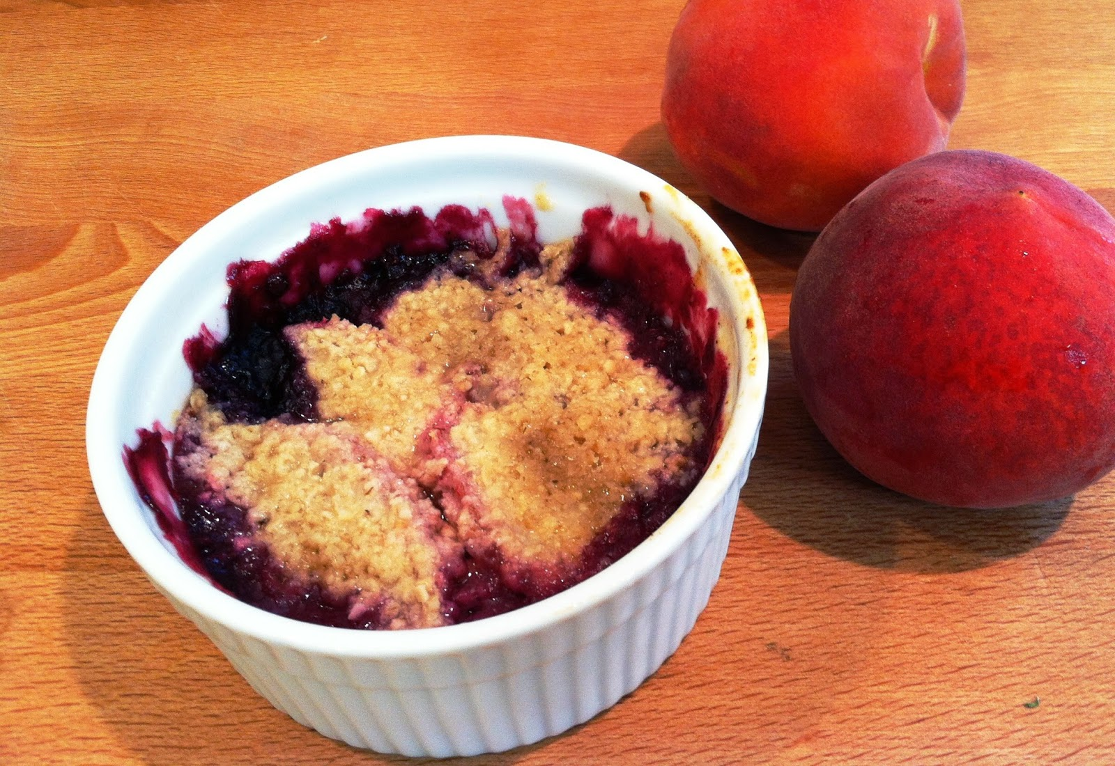 peach & blueberry crisp on the fourth of july