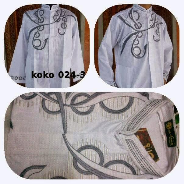 Baju Koko Putih  Bordir