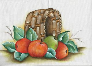 pintura em tecido de cesta de macas