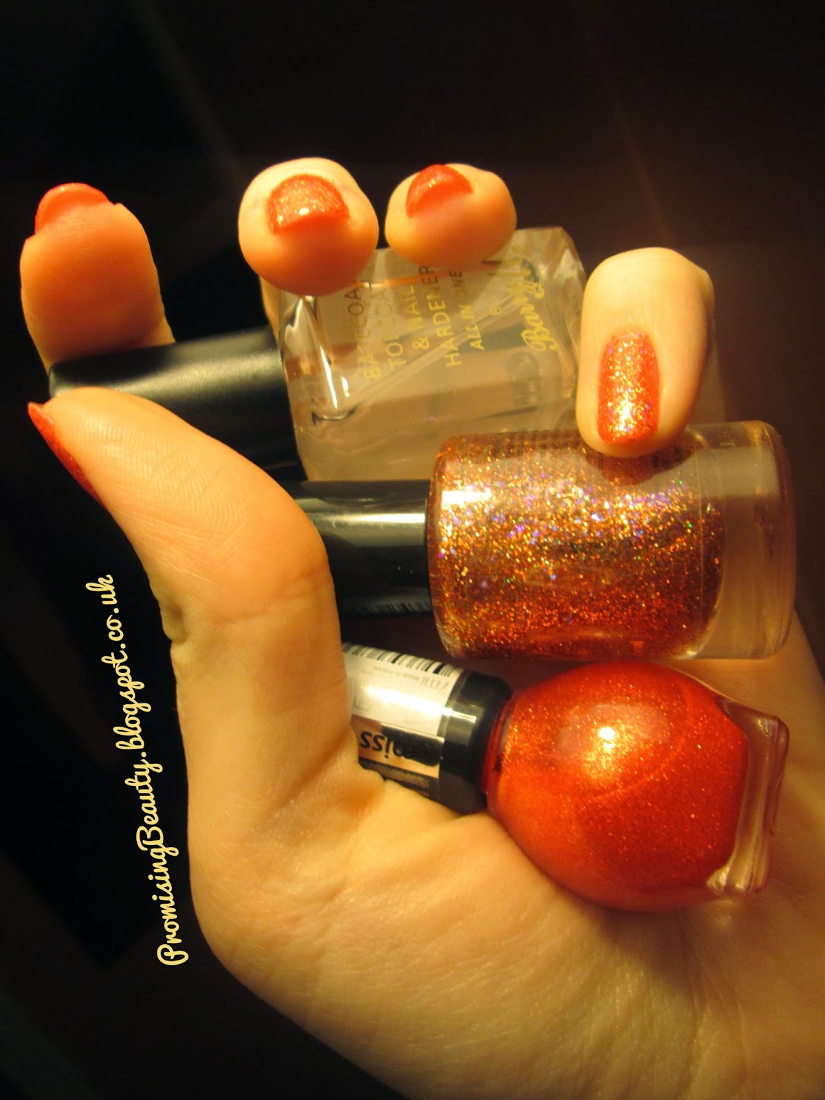Miss sporty 3D nail polish, orange glitter, barry m topcoat