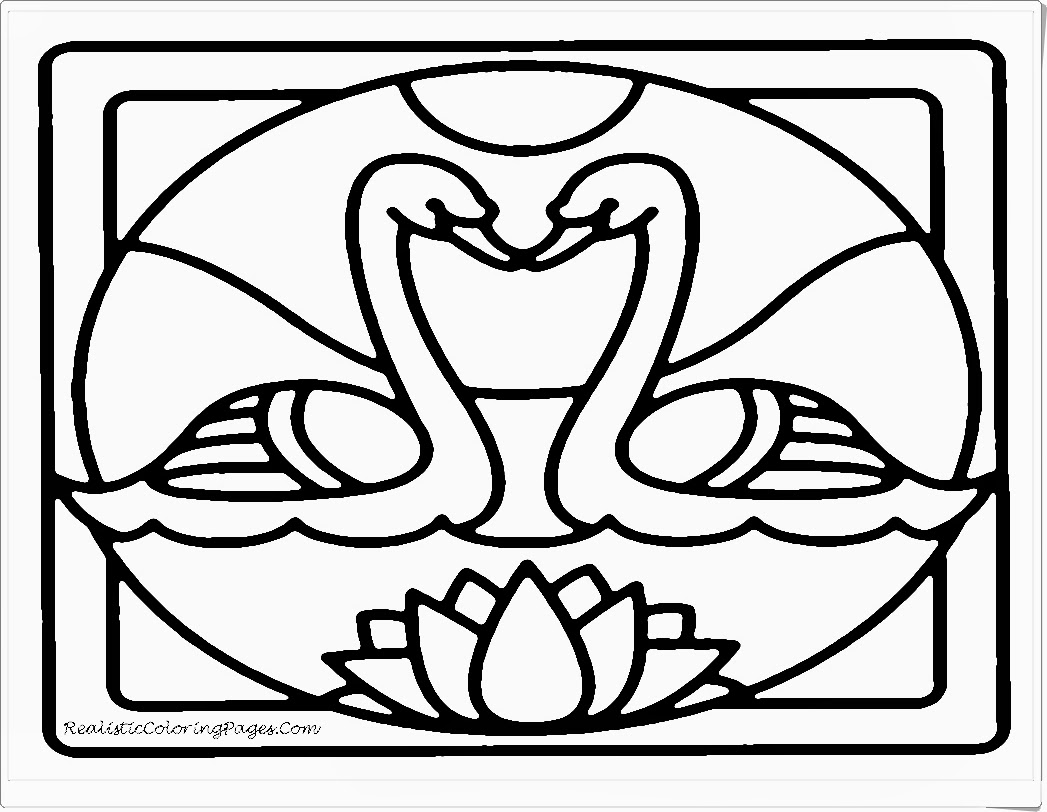 White Swan Printable Animals Valentine- Coloring Pages