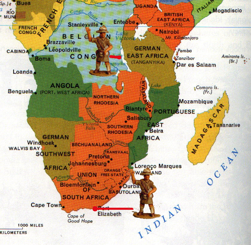 The map at left shows the distance from Port Elizabeth to where the ...