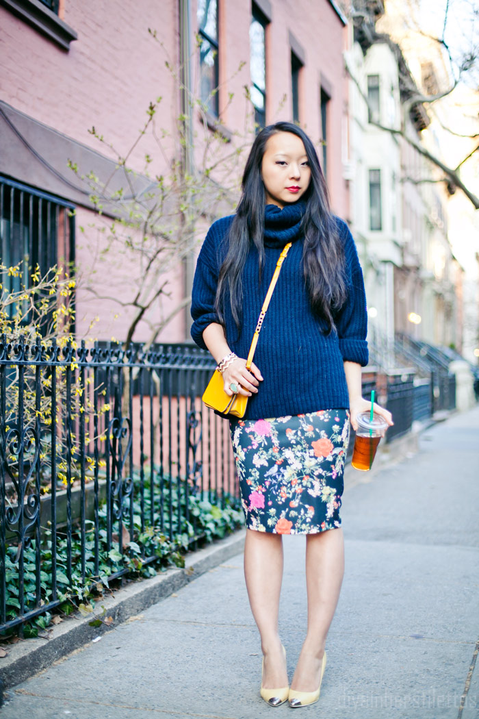 american apparel aa cable turtleneck sweater, zara floral bodycon midi skirt, zara yellow metal tipped pumps, kendra scott ring, nyc fashion blog, brooklyn, spring 2013, streestyle, diya liu