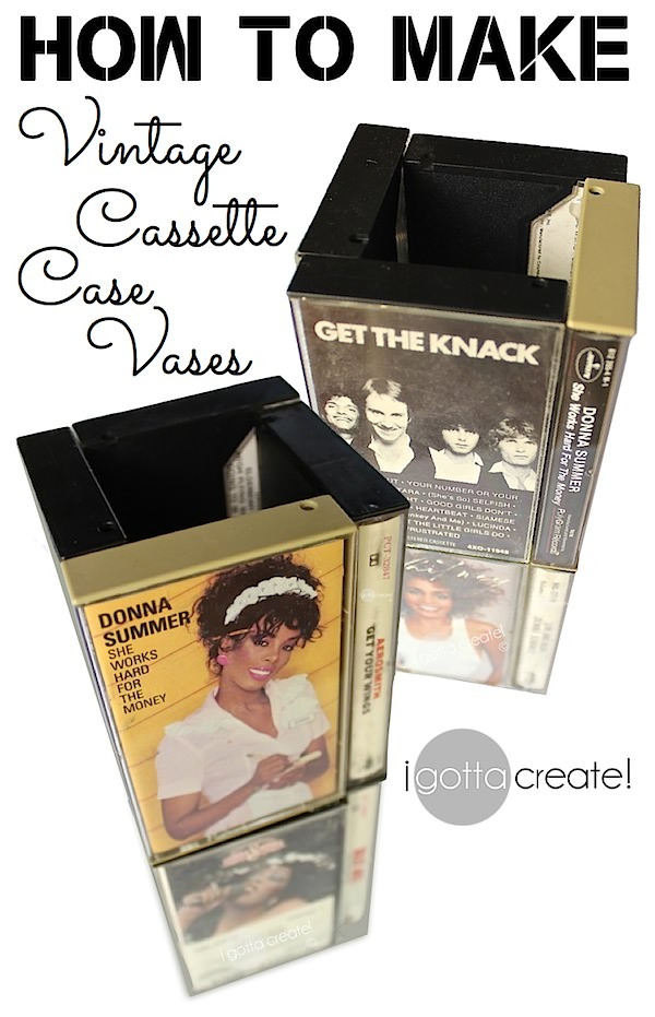 Groovy! Cassette case vase tutorial ~ great conversation centerpiece at a music theme #party or #wedding | Tutorial at I Gotta Create!