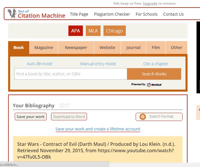 free apa work cited machine